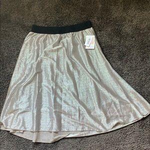 Lularoe Elegant Silver Sequin Skirt - Large